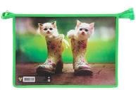 "Папка для труда А4 молния сверху пластик ""Котята в сапогах""¶ПЧЕЛКА ПТР-221"