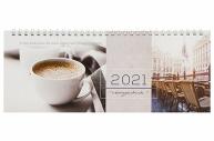 2021 Планинг датированный 2021 (285х112мм), STAFF, картонная обложка на спирали, 60л, Кофе, 111830