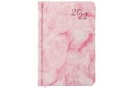 2022 Ежедневник датированный 2022 МАЛЫЙ ФОРМАТ 100х150мм А6, BRAUBERG Marble, под кожу, розовый, 112