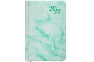 2022 Ежедневник датированный 2022 МАЛЫЙ ФОРМАТ 100х150мм А6, BRAUBERG Marble, под кожу, бирюзовый, 1