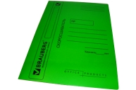 Скоросшиватель карт. мел. BRAUBERG, гарант. пл. 360г/кв. м., зеленый, до 200л.