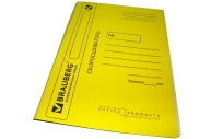Скоросшиватель карт. мел. BRAUBERG, гарант. пл. 360г/кв. м., желтый, до 200л.