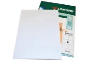 Этикетка самоклеящаяся LOMOND на листе формата А4, 6 этик., размер 105х99мм, белая (2100035)