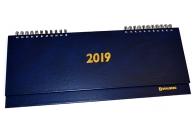 2019 Планинг настольный дат, тв. переплет, обложка бумвинил, синий, 60л, 285*112мм, BRAUBERG, 129274