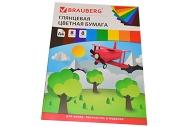 Цветная бумага А4 мелованная,  8л. 8цв., на скобе, BRAUBERG, 200х280мм, Самолетик, 129548