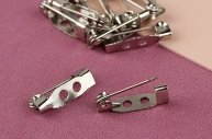 Основа для броши, 15 мм, 2 отверстия, 10 шт, цвет серебряный