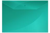 Папка-конверт на кнопке OfficeSpace А4, 150мкм, зеленая