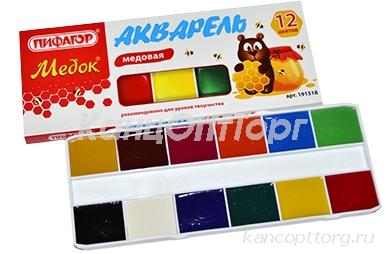 Краски акварельные ПИФАГОР МЕДОК, 12 цветов, медовые, без кисти, картонная коробка, 191518