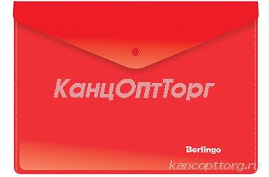 Папка-конверт на кнопке A5+, 180мкм, красная Berlingo,