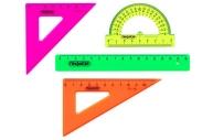 Набор чертежный малый ПИФАГОР (линейка 16 см, 2 треуг., трансп. ), непрозр., неоновый, пакет, 210624