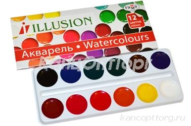 """Акварель 12 цветов ГАММА """"Illusion"""" медовые, без кисти, картонная коробка, 212086, 10-1012"""