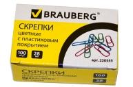 Скрепки BRAUBERG 28мм цветные, 100 шт., в карт. коробке