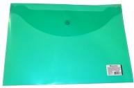 Папка-конверт с кнопкой BRAUBERG А4, прозрачная, зеленая, до 100 листов, 0, 15мм,