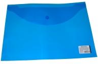 Папка-конверт с кнопкой BRAUBERG А4, прозрачная, синяя, до 100 листов, 0, 15мм, 221637