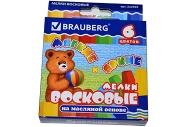 Восковые мелки утолщенные BRAUBERG//ПИФАГОР, 6 цветов, на масляной основе, яркие цвета, 222969