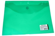 Папка-конверт с кнопкой BRAUBERG А5 240*190мм, прозрачная, зеленая, 0, 15мм, 224025