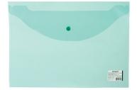 Папка-конверт с кнопкой А4, до 100 л, прозрачная, зеленая, 0, 12 мм, STAFF, 225171