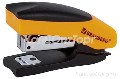 """Степлер 10 МИНИ BRAUBERG """"Soft"""", до 12 л, с резиновой накладкой и антистеплером, черно-оранж, 226857"""