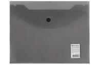 Папка-конверт с кнопкой МАЛОГО ФОРМАТА (240х190 мм), А5, тониров. черная, 0, 18 мм, BRAUBERG, 227313