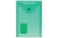 Папка-конверт с кнопкой МАЛОГО ФОРМАТА (105х148 мм), А6, зеленая, 0, 18 мм, BRAUBERG, 227318