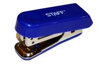 Степлер №10 МИНИ STAFF, до 10 листов, с антистеплером, синий, 227404