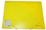 """Папка на резинках BRAUBERG """"Neon"""", неоновая желтая, до 300 листов, 0,5 мм, 227461"""