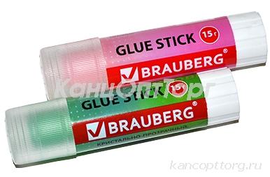 "Клей-карандаш BRAUBERG ""COLOR Crystal"", 15 г, прозрачный, ассорти, 227969, PVP"
