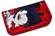 Пенал BRAUBERG, 2 отделения, металлизированный картон, конгрев, 19х11см, Цветы, 228098
