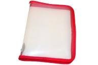 Папка для тетрадей А5 ПИФАГОР, пластик, молния вокруг, прозрачная, красная, 228224