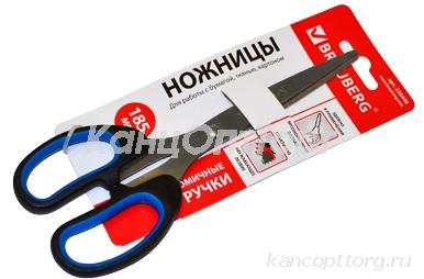 """Ножницы BRAUBERG """"Classic+"""", 185 мм, классической формы, резиновые вставки, черно-синие, 236448"""