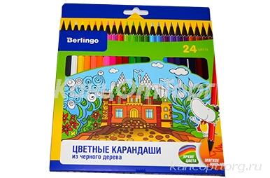 """Карандаши 24цв. Berlingo """"Волшебный дворец"""", черное дерево, заточен., картон, европодвес"""