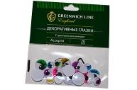 """Материал декоративный Greenwich Line """"Глазки"""", с цветными ресничками, ассорти, 20шт."""