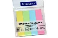 Клейкие закладки 50*12мм, 25л*4 пастельных цвета, европодвес OfficeSpace