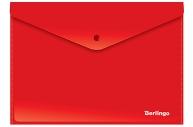 Папка-конверт на кнопке Berlingo, А4, 180мкм, непрозрачная, красная