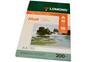 Фотобумага LOMOND д/струйной печати А4, 200г/м, 50л., двухсторонняя, матовая (0102033)