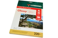 Фотобумага LOMOND д/струйной печати, А4, 220 г/м2, 50 л., двухсторонняя, глянцевая, 0102089