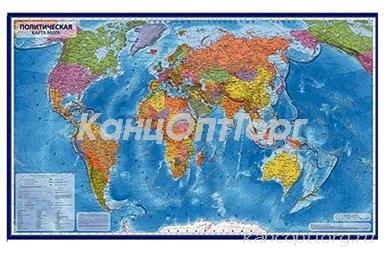Карта Мира политическая М1:55млн 59*40 GLOBEN