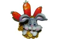 """Подставка д/визиток-полистоун UW30-15268 8см """"Кролик с морковками"""" /2 /0 /144"""