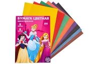 Бумага цветная односторонняя «Принцессы Дисней», А4, 8 л., 8 цв., Принцессы, 48 г/м2