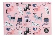 """Эскизник А4, 12 листов """"Котики на розовом-1"""", бумажная обложка, блок офсет"""