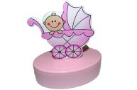 """Шкатулка 6102-pink """"Новорожденный"""", овал, d- см, розовая, пластик J. Otten /12 /0"""