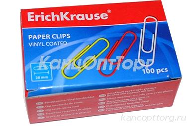 Скрепки 28мм, Erich Krause, цветные, 100 шт., в картонной коробке, 24871