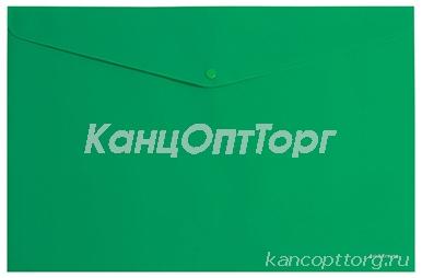 "Папка-конверт с кнопкой А4 зеленая непрозрачная, , ERICH KRAUSE ""Classic""до 120 л, 0, 18 мм, 42925"