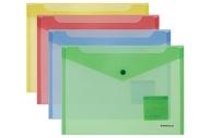 "Папка-конверт с кнопкой формат B5 (282х229 мм), прозрачная, ассорти, 0, 18 мм, ERICH KRAUSE ""Classic"", 47052"